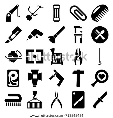 Tool icons set. set of 25 tool filled icons such as comb, shaving brush, cleaning tools, clean brush, nippers, drill, cutter, nail gun, pliers, electric saw, chainsaw, hoe