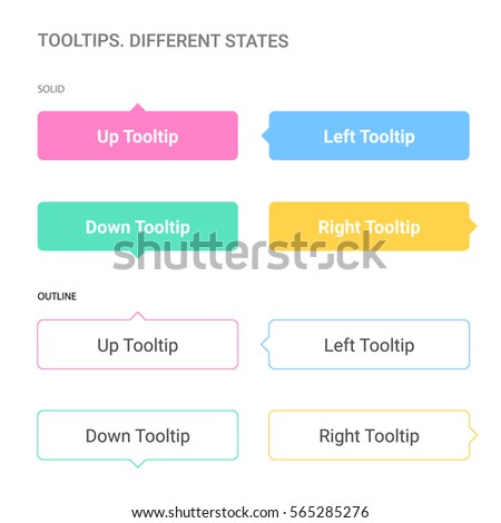Tool tips. Different states. White background