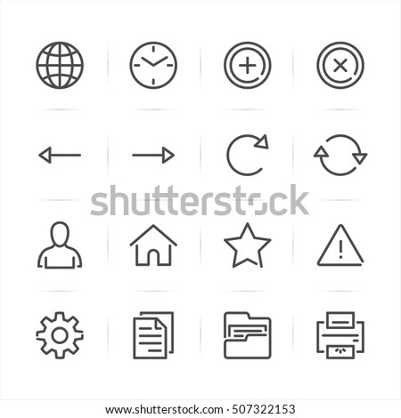 Toolbar icons for Application and website with White Background