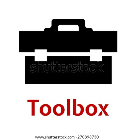 Toolbox black icon silhouette as close box with tools isolated on white background