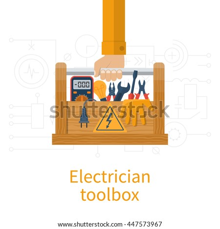 Toolbox electrician. Electricians in hand holding box of tools and equipment for repair and maintenance. Concept of electrical  service center, workshop. Vector illustration, flat design.