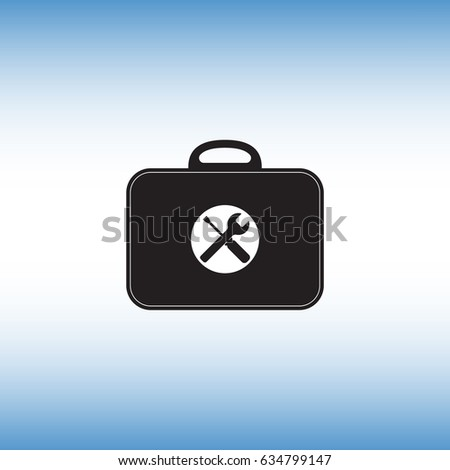Toolbox flat vector sign. Isolated toolkit vector icon. Work tools menu button illustration.