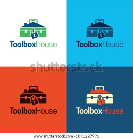 Toolbox House Logo and Icon. Vector Illustration. Playful logo featuring a toolbox which is also a house.