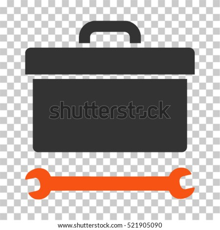Toolbox icon. Vector pictograph style is a flat bicolor symbol, orange and gray colors, chess transparent background. Designed for software and web interface toolbars and menus.