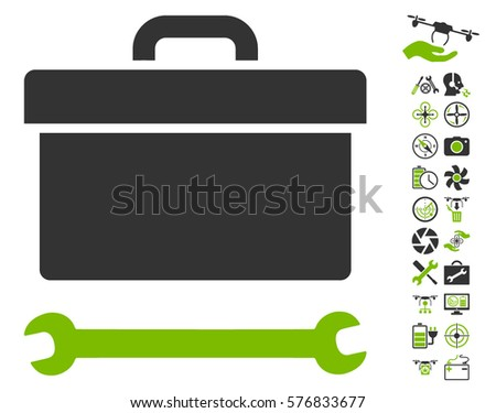 Toolbox icon with bonus drone tools clip art. Vector illustration style is flat iconic eco green and gray symbols on white background.