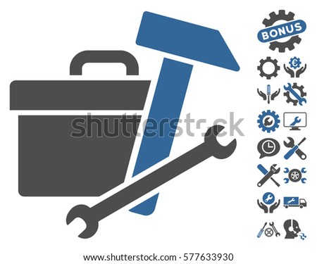 Toolbox icon with bonus service pictograms. Vector illustration style is flat iconic cobalt and gray symbols on white background.