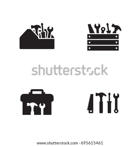 Toolbox icons set. Black on a white background