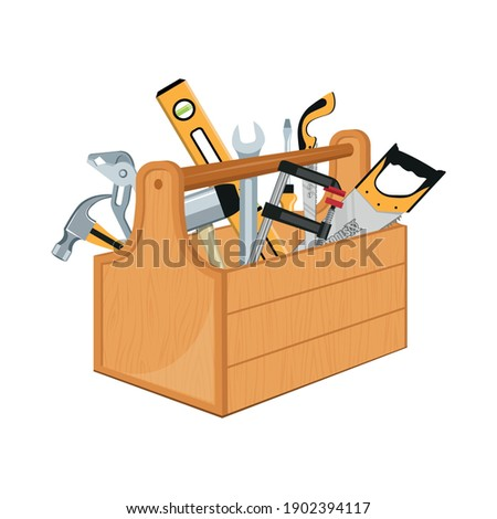 Toolbox with hand tools inside. Workbox with instruments. Building tools. Instruments for renovation. Work tools. Vector graphics to design. Foto stock ©