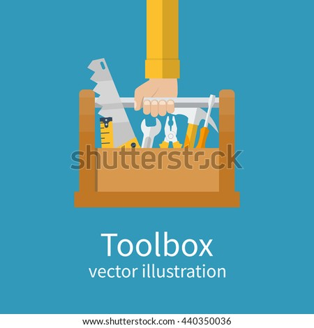 Toolbox with tools in hands of builder. Saw, wrench, screwdriver, hammer, tape measure, pliers. Vector illustration flat design. Hand tools for repair and restoration