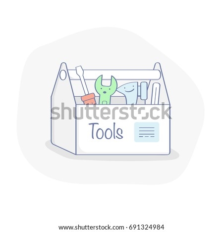 Toolbox with wrench, hammer, screwdriver. Tools vector illustration concept of repair, creation, renovation, overhaul, engineering works. Flat line concept, UX UI element for web and mobile design.