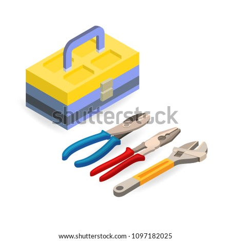 Toolbox, wrench, pliers. Isometric construction tools isolated on a white background. Colorful flat illustration. Vector set of hand tools for home renovation. Instruments for repair.