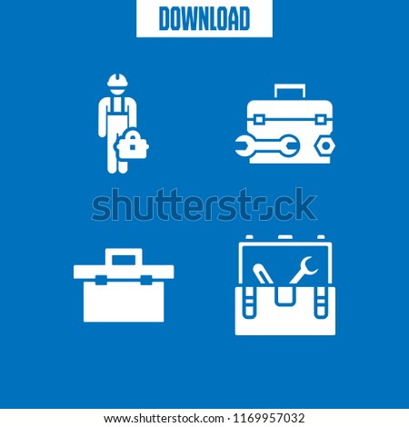 toolkit icon. 4 toolkit vector set. tool box and toolbox icons for web and design about toolkit theme