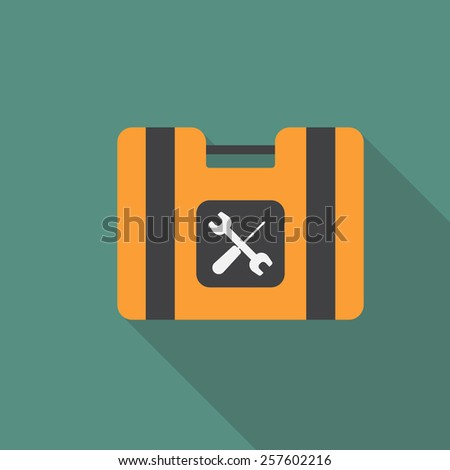 Toolkit,toolbox flat icon with long shadow. Bector illusttration EPS10