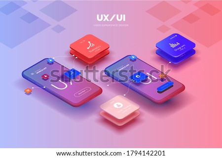 Toolkit-UI/UX scene creator. Mobile application design. Smartphone mockup with active blocks and connections. Creation of the user interface. Modern vector illustration isometric style