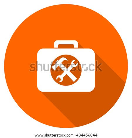 toolkit vector icon, circle flat design internet button, web and mobile app illustration