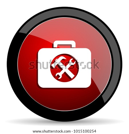 Toolkit vector icon. Modern design red and black glossy web and mobile applications button in eps 10