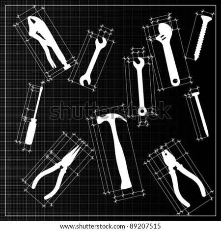 tools background sketch, vector - stock vector