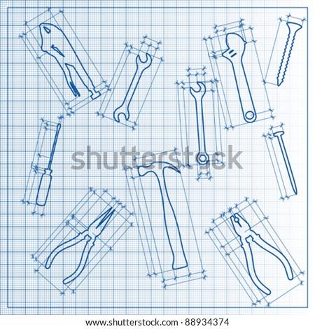 tools blueprint sketch, vector