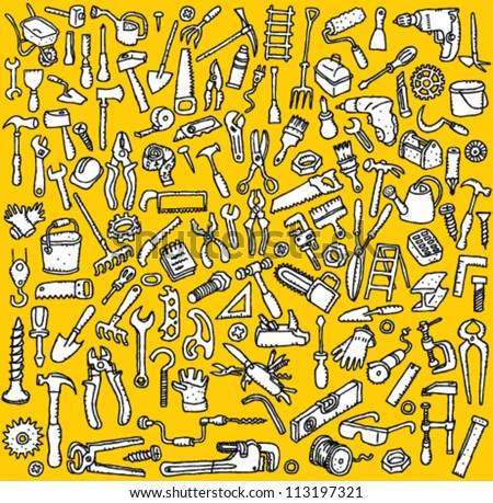Tools Collection: hand drawn illustrations of numerous tool icons (in black and white)