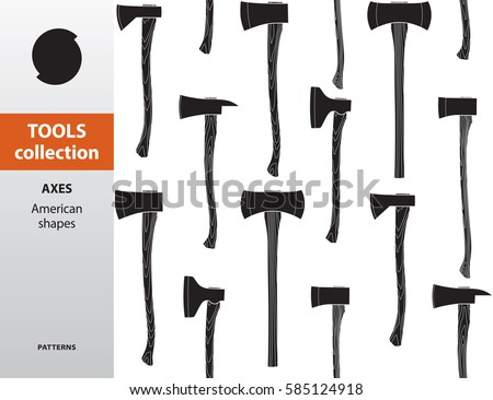 TOOLS COLLECTION. Pattern with axes. American shapes. Monochrome