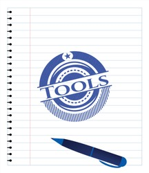 Tools drawn with pen. Blue ink. Vector Illustration. Detailed.