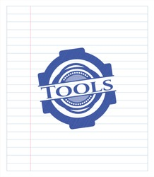 Tools emblem draw with pen effect. Blue ink. Vector Illustration. Detailed.