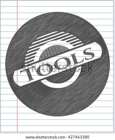 Tools emblem with pencil effect