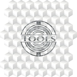 Tools grey emblem with cube white background