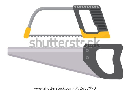 Tools. Hacksaw isolated on white background. Flat vector