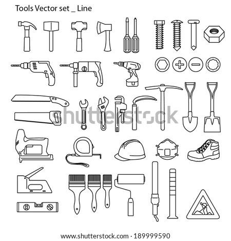 Tools icon set - line