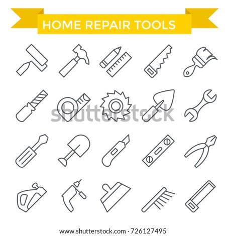 Tools icon set, line flat design
