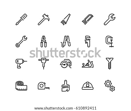 Tools icon set, outline style