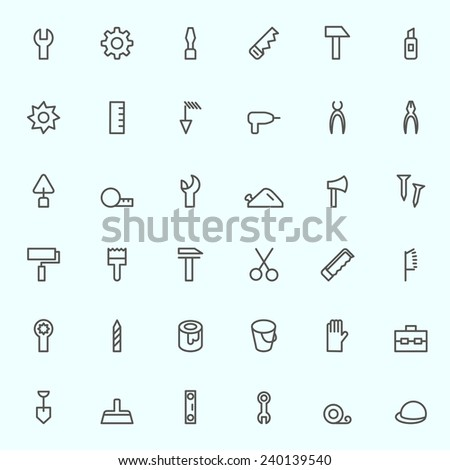 Tools icon set, simple and thin line design