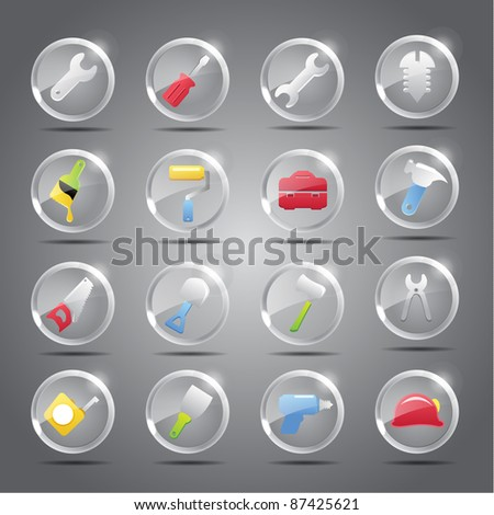 Tools icon set -Transparent Glass Button