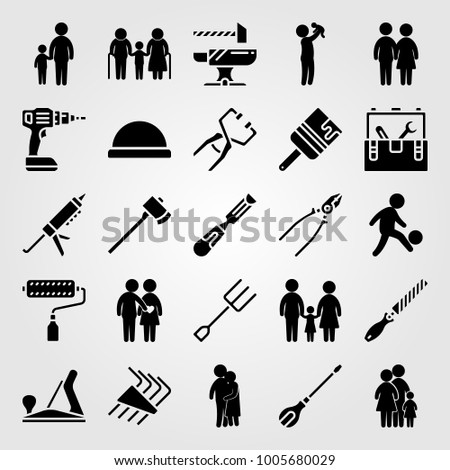 tools icon set vector father