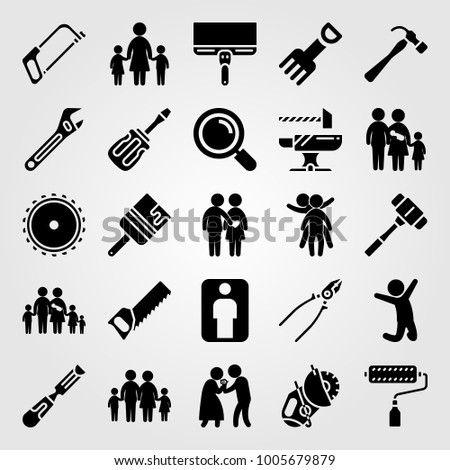 Tools icon set vector. paint brush, chield, man giving flowers and saw blade