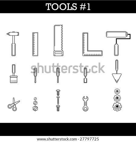 Tools icon set which can be in every house