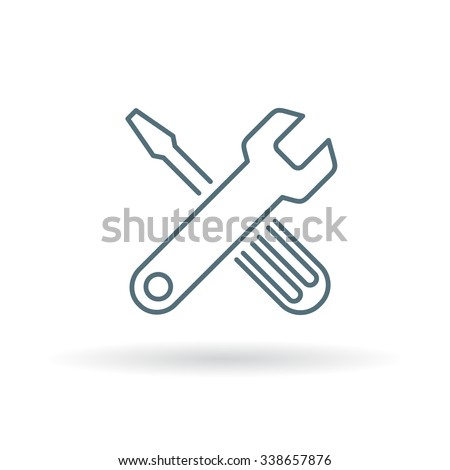 Tools icon. Settings sign. Preferences symbol. Thin line icon on white background. Vector illustration.