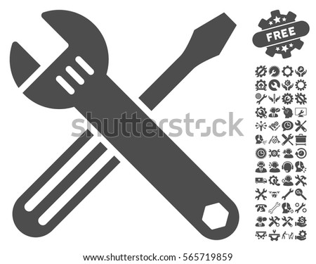 Tools icon with bonus options design elements. Vector illustration style is flat iconic gray symbols on white background.