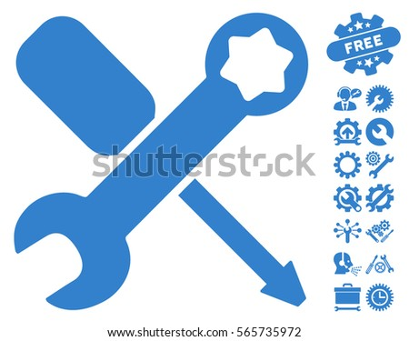 Tools icon with bonus settings clip art. Vector illustration style is flat iconic cobalt symbols on white background.