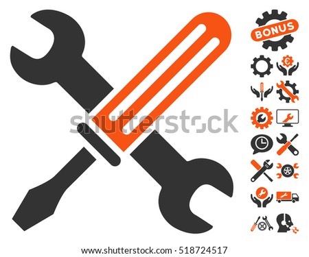 Tools icon with bonus setup tools icon set. Vector illustration style is flat iconic orange and gray symbols on white background.