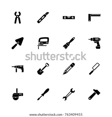 Tools icons - Expand to any size - Change to any colour. Flat Vector Icons - Black Illustration on White Background.