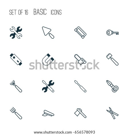 Tools Icons Set. Collection Of Carpentry, Gasoline Cutter, Password And Other Elements. Also Includes Symbols Such As Scissors, Spatula, Battery.