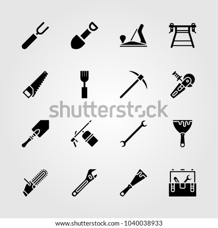 Tools icons set. Vector illustration power saw, adjustable spanner, shovel and scraper