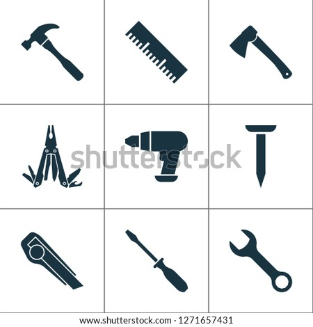 Tools icons set with utility knife, multi tool, measurement and other ruler elements. Isolated vector illustration tools icons.