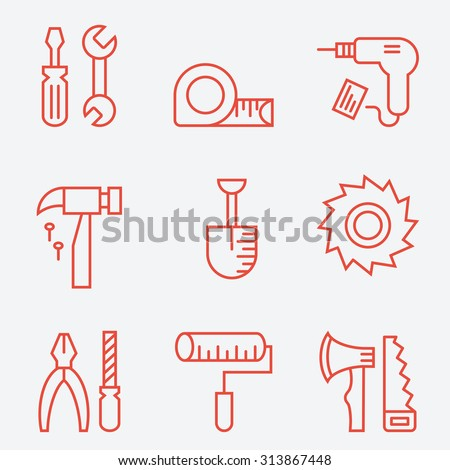 Tools icons, thin line style, flat design