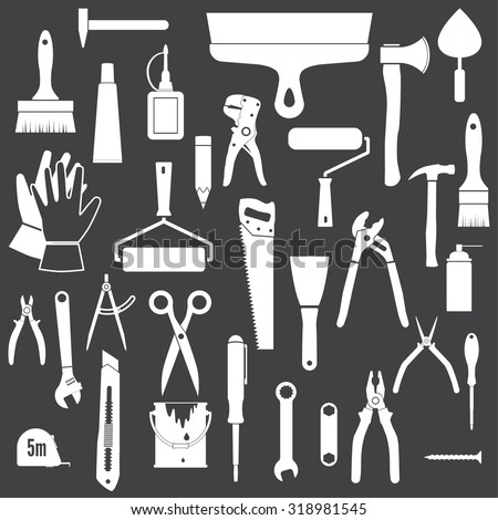 Tools Icons. White icons isolated on a black background.