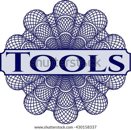 Tools inside money style emblem or rosette