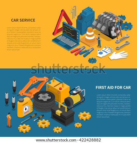 tools isometric banner set with
