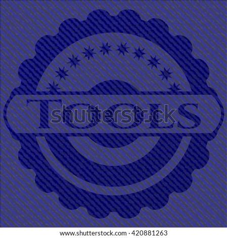 Tools jean or denim emblem or badge background